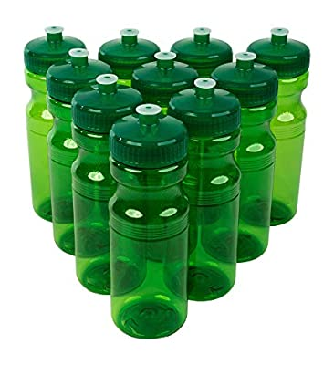 CSBD Clear 24 Oz Sports Water Bottles, 10 Pack, Blank for Customized Branding, No BPA Food Grade Plastic for Fitness, Hiking, Cycling, or Gym Workouts, Made in USA (Green, 10 Pack)