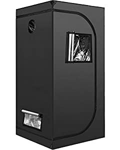 """iPower GLTENTXS3 Grow Tent with Reflective Mylar 32"""" x 32"""" x 63"""" Indoor Hydroponic Water-Resistant Complete System, 3 x 3 Small Plant Seedling Room, Black"""