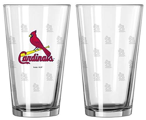 Boelter Brands St. Louis Cardinals Glass Pint Satin Etch 2 Piece Set, One Size, Clear