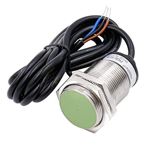 Heschen Sensor de proximidad inductivo PR30-10DN Tipo cilíndrico, detección de 10 mm, M30 redondo, 12-24 VDC 3 cables, blindado, NPN, NO (normalmente abierto) CE