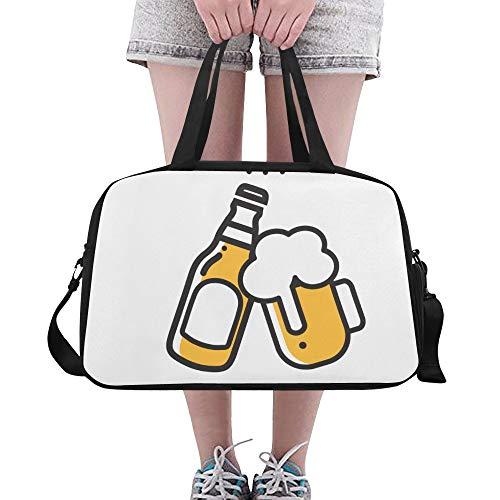 Bier Trinken Vereinbarung Deal Cheers Custom Large Yoga Gym Totes Fitness Handtaschen Reise Seesäcke mit Schultergurt Schuhbeutel für die Übung Sport Gepäck für Mädchen Mens Womens Outdoor
