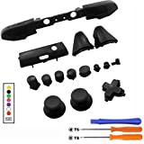 Bumper Triggers Full Button Dpad RT LT RB LB ABXY Guide ON Off Buttons and T6 T8 Screwdrivers Set for Xbox One Slim Xbox One S Controller Gamepad Repair Part Solid Black