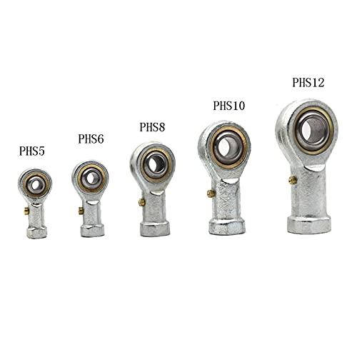Cojinete de rótula 1PCS PHS8 M8 8 mm 5 mm 6 mm 10 mm 12 mm 14 mm Pescado métrico de la barra de ojo de los extremos del rodamiento de la bola de rosca hembra con la mano derecha Conector de rosca inte