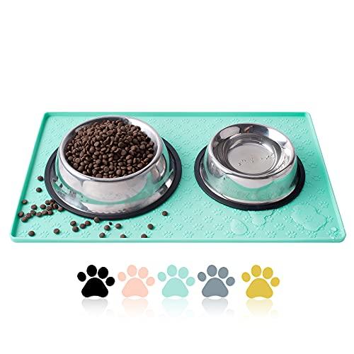 Coomazy Dog Cat Pet Feeding Mat, Silicone Waterproof Food Mat M, L- 0.4inch Raised Edges, Nonslip...
