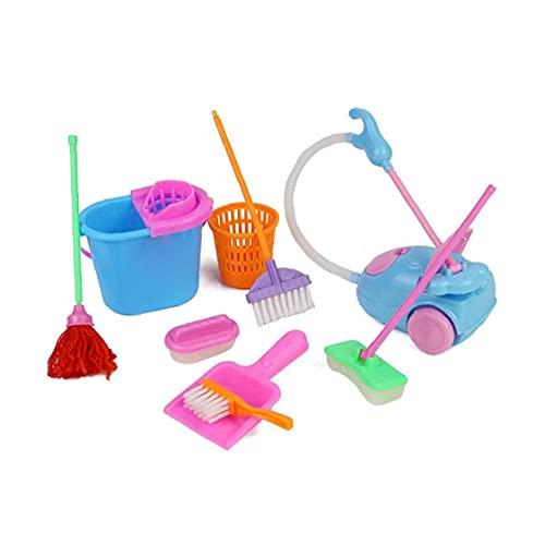 Los juegos de simulación del hogar Toy Kit Mini aspirador de limpieza escoba de la fregona Herramientas Accesorios Juguetes Ware Juguetes para niñas niños 9pcs muebles de la simulación Juguetes