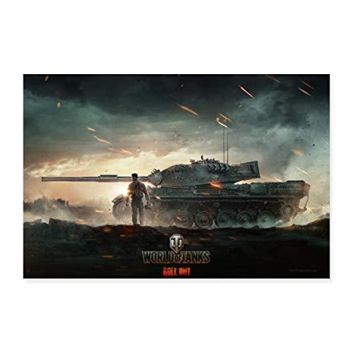Spreadshirt World of Tanks Panzerschlacht Angriff Poster 60x40 cm, Weiß