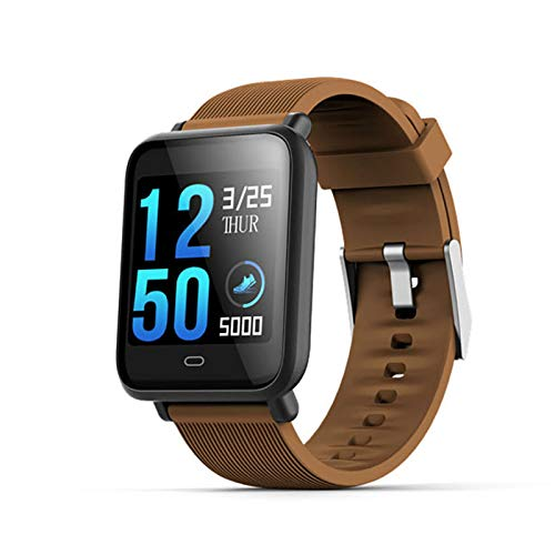 ZEIYUQI Smart Bracelet Compatible With Android IOS,Waterproof Heart Rate Blood Pressure Exercise Health Monitoring Smart Bracelet Wristband,1.3 Inch TFT Bluetooth4.0,Brown