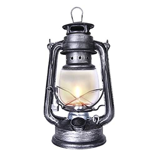 ZzheHou Lámpara De Kerosene Lámpara de Queroseno portátil al Aire Libre Camping Retro lámpara de Mesa luz para La Decoración del Porche del Jardín del Patio (Color : Silver, Size : 24.5 x 11.5cm)