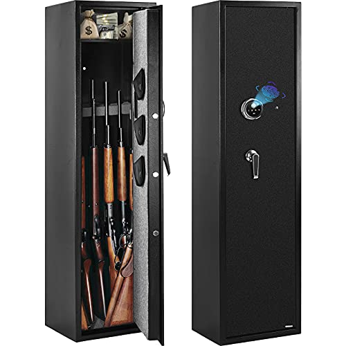 WINZONE Biometric Gun Safe, Fingerprint Gun Safes for Rifles and Shotguns, Quick Access 5-Gun Storage Cabinet (with/Without Scope) with Pistol Lock Box, 3 Separate Pistol/Handgun Pouch