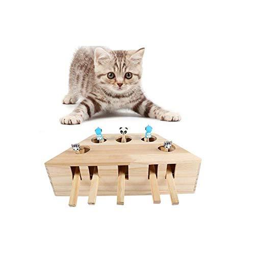 Binggong Bewegliches Katzenspielzeug,Interaktives Spielzeug für Katzen Whack Mole Maus Trainieren Jagd Crazy Intelligenz-Beschäftigungsspielzeug,Wooden Cat Hunt Toy Kätzchen Spielzeug (C)