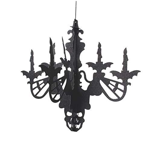 BESTOYARD Lámpara de araña de Pascua para colgar en la pared, decoración en 3D, color negro, para fiestas, festivales, hogar, suministros de fiesta de Halloween