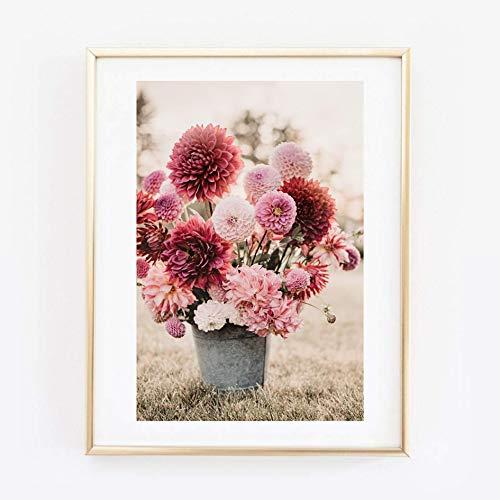 Din A4 Kunstdruck ungerahmt Blumen Blüten Blumenstrauß Rosa Pink Vintage Shabby Chic Foto Fotokunst 21x30 cm Druck Poster Bild