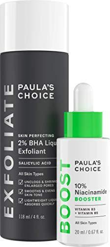 Paula's Choice Skin Perfecting 2% BHA Salicylic Acid Liquid Exfoliant & 10% Niacinamide Serum Booster Duo, for Blackheads, Large Pores, Wrinkles & Fine Lines, Fragrance-Free & Paraben-Free, Set of 2