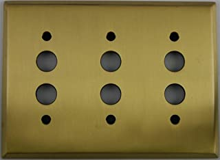 Classic Accents Antique Brass 3 Gang Push Button Light Switch Wall Plate