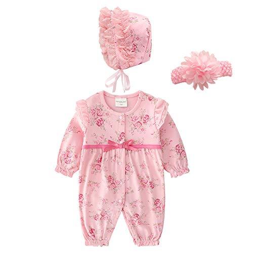 QSEFT Neugeborenes Baby-Einteilige Kleidungs-Sätze Dicker Warmer Prinzessin-Winter-Overall + Hut-Kind-Mädchen-Körper-Kleidung Stellte für Säuglings 0-12 Monat Anzüge Ein,Pink1,73Cm