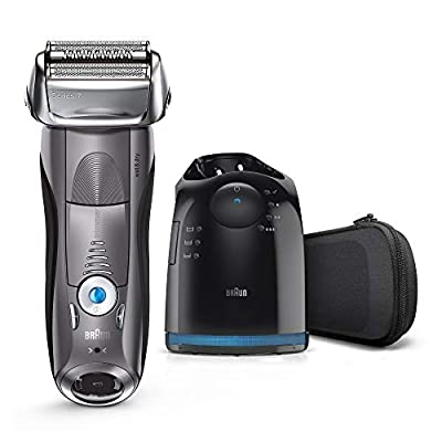 Braun Series 7 Electric Shaver for Men 7865cc, Wet and Dry, Integrated Precision Trimmer, Rechargeable and Cordless Razor with CleanandCharge Station and Travel Case, Grey by Procter & Gamble