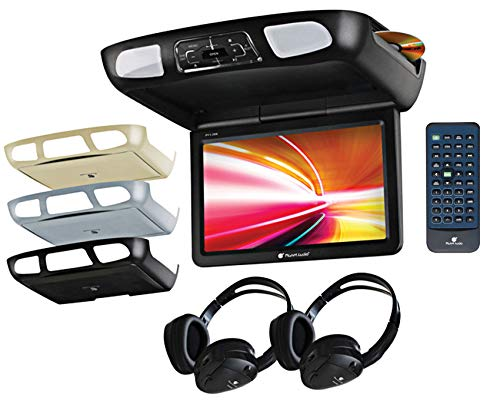 Planet Audio P12.1ES Car Roof-Mount Monitor and DVD Player – 12.1 Inch LCD, Widescreen, Flip-Down, FM Transmitter, IR Transmitter, Speakers, Dome Light, Interchangeable Black/Gray/Tan Housings