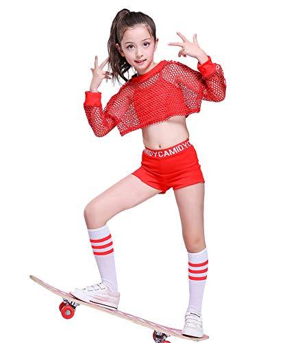 5pcs Girls Modern Jazz Hip Hop Dance Costume Stage Performance