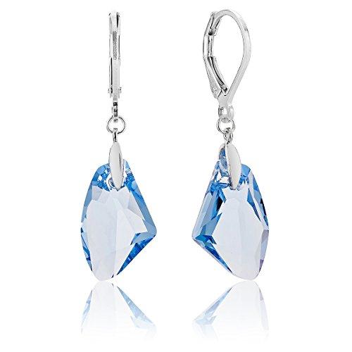 DTP Silver - Pendientes en forma de Lágrima/Gota estilizada - Plata de Ley 925 con Cristales Swarovski - Color: Azul/Agua Marina