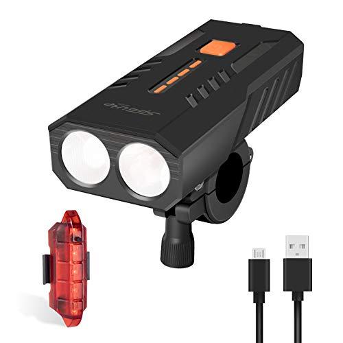 LITSPOT LED Fahrradbeleuchtung Set, USB Wiederaufladbar Frontlicht und Rücklicht mit 6 Lichtmodi Laufzeit 15+ Stunden,IP63 Wasserdichtes Superhelle LED Fahrradlicht Set für alle Fahrräder Berg Straße