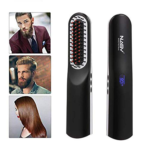 Brosse Lissante Chauffante - Anself Hair Straightening Brush Wireless Ceramic comb with LCD Display USB Rechargeable