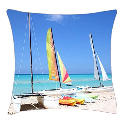 Kajaks, Katamarane und Kajaks Cuban Beach Throw Kissenbezug 18x18 Zoll Two Sides Design Bedruckter Kissenbezug