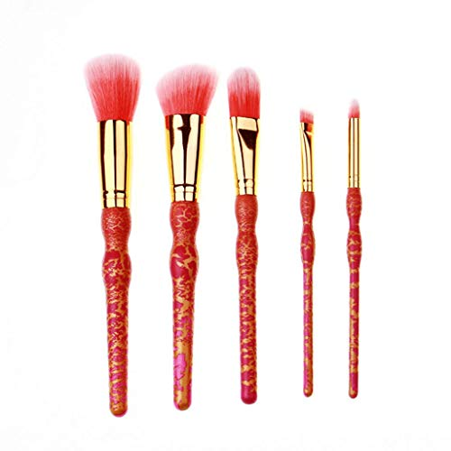 Eyeshadow Brushes Brosse à maquillage professionnelle longue durée Crack Paint Manche en bois en forme de calebasse Laine à fibre synthétique synthétique avancée (5 pièces) (Couleur : B)