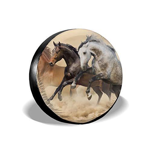 Xhayo Mustang Horse - Cubierta universal de repuesto para neumáticos, impermeable, a prueba de polvo, para remolques, RV, SUV y muchos vehículos (negro, diámetro 14-17 pulgadas)