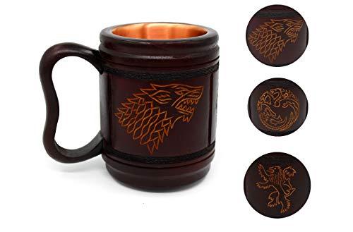 5MoonSun5s Handmade wooden Beer Mug copper Cup Carved Natural Beer Stein Old-Fashioned Barrel Brown Vintage Bar accessories - Wood Carving Stark Targaryen and Lannister Beer Mug Tankard for Men 16oz