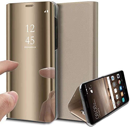 Caler ® Funda Compatible/Reemplazo para Xiaomi MI A2 Lite Funda,Flip Tapa Libro Carcasa Modelo Fecha Espejo Brillante tirón del Duro Case, Espejo Soporte Plegable Reflectante (Oro Dorada)