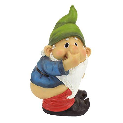 Design Toscano QM2432400 Garden Gnome Statue - Stinky the Garden Gnome - Naughty Gnomes - Mooning Gnomes Statues,Single