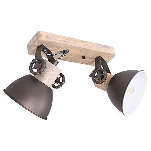 RETRO Decken Lampe Wohn Zimmer schwenkbar Holz Leuchte Industrie Stil Strahler Steinhauer 7969A