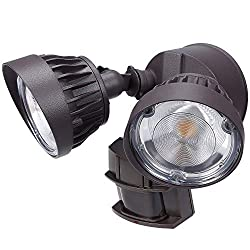 LEONLITE Dual-Head Motion Activated LED Security Light, 3300lm Ultra Bright, Outdoor Flood Lighting, 30W (200W Eqv.), ETL & DLC Listed, IP65 Waterproof, 3000K Warm White, 5 Years Warranty, Brown