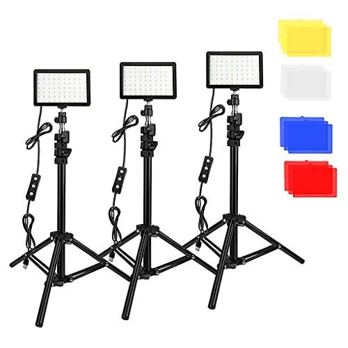 MagiDeal Fotografía Kit de Luz LED Regulable con Soporte para Trípode Filtro de Color Maquillaje - 3 Piezas