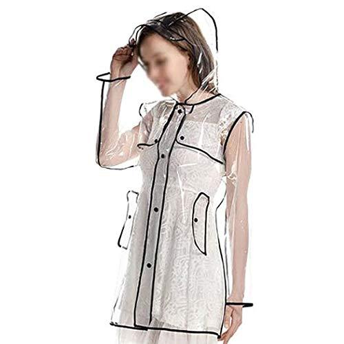 Merkisa Frauen Transparente Regenmantel mit Kurze Kapuzen, Wiederverwendbare wasserdichte leicht atmungsaktiv Regenjacke für Damen, Größe 36 bis 42, Perfekt für Wandern und Camping Regen