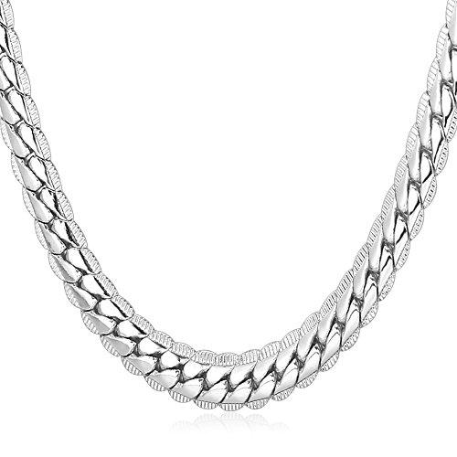 U7 Herren Erbskette Collier 6mm breit Rundpanzerkette - Mesh Englische Halskette Weißgold überzogen 46cm lang Gliederkette für Männer Jungen, Silber