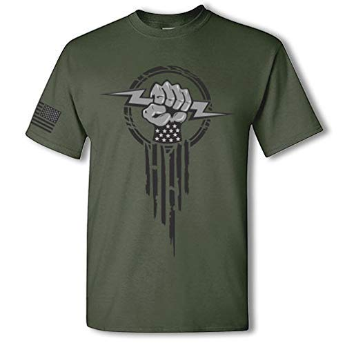 Product Image 1: Electrician Superhero Electrical Worker Lightning Bolt Fist Short Sleeve T-Shirt