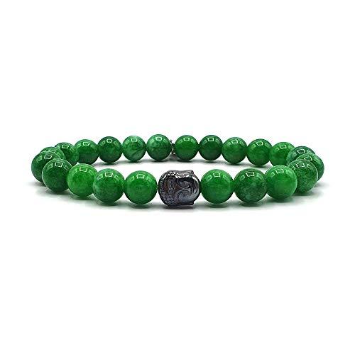 KARDINAL WEIST buda jade pulsera, cuentas de piedras preciosas, joyas para hombres y mujeres, chakra - felicidad - salud - yin yang (S)