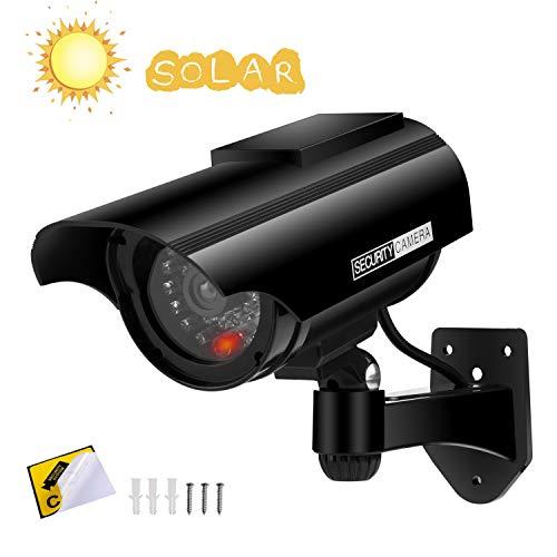 Cámara Falsa Cámara de vigilancia Falsa simulada con Bala Solar Cámara Domo CCTV de Seguridad con luz LED Intermitente para Exteriores Interiores hogar Negocios (Negro *1 Paquete)
