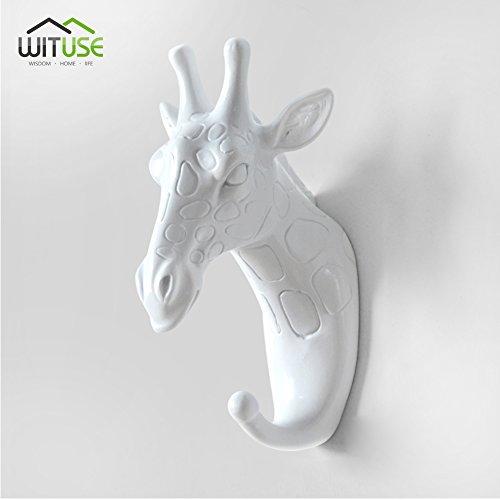 Gancho de Resina para Colgar en la Pared YCDC dise/ño de Cabeza de Cabra en 3D Color Blanco