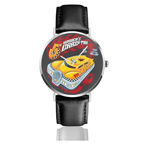 Unisex Business Casual Korbens Crazy Taxi Fünftes Element Uhren Quarz Leder Uhr mit schwarzem Lederband für Männer Frauen junge Kollektion Geschenk