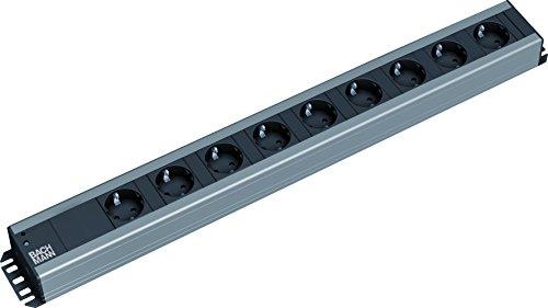 Bachmann 300.001 Steckdosenleiste, Handwerkerleiste, Steckdosenabstand 15mm mit 9xSchutzkontaktstecker und 2,0m Zuleitung, Schwarz, 9-fach
