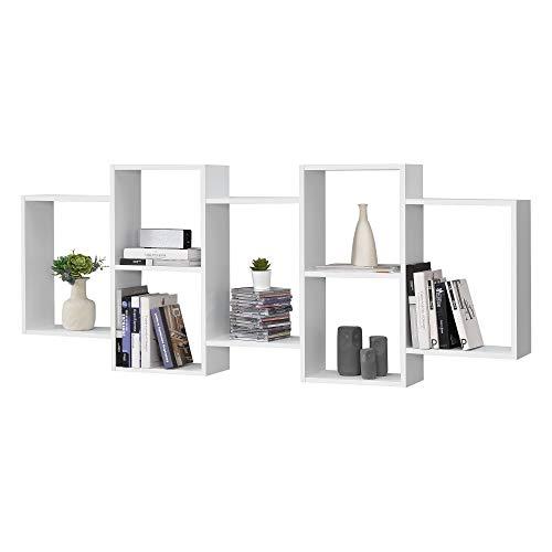 Mensola da Parete a 7 Scomparti 161 x 18 x 65 cm Consolle/Scaffale Pensile con Ripiani Portaoggetti Libreria da Muro - Bianco Opaco