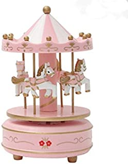 OKOK Vintage Pink Wooden Merry-Go-Round Horse Christmas Birthday Gift Carousel Music Box, Clockwork Mechanism Laxury Carousel Music Box