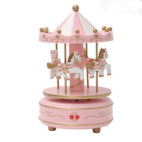 OKOK Vintage Pink Wooden Merry Go Round Horse Christmas Birthday Gift Carousel Music Box