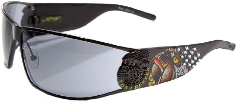 Ed Hardy La Dog Sunglasses Ehs018 Black Solid Grey