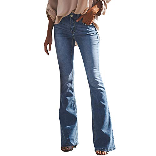 Petalum Damen Jeans Schlaghose Flared Bootcut Hose Mode Slim Fit High Waist Stretch Skinny Jeanshose Denim Pants mit Löcher