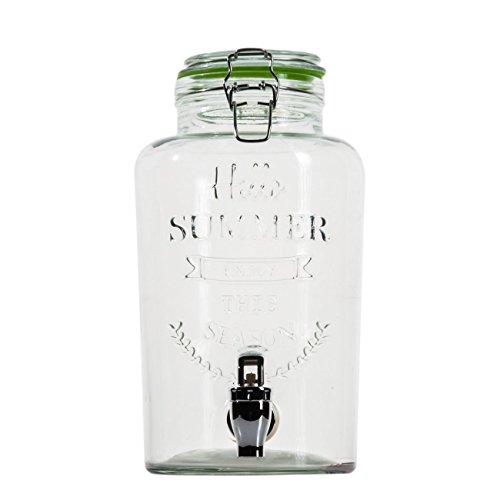 esto24 Hochwertiger Getränkespender aus Glas mit Schriftzug 3 Liter mit Zapfhahn und Deckel
