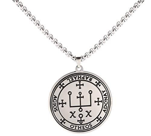 VASSAGO Edelstahl Talisman des Erzengels Raphael Siegel Halskette Engel Magie Runde Anhänger Gravur Amulett Halsketten für Männer und Frauen