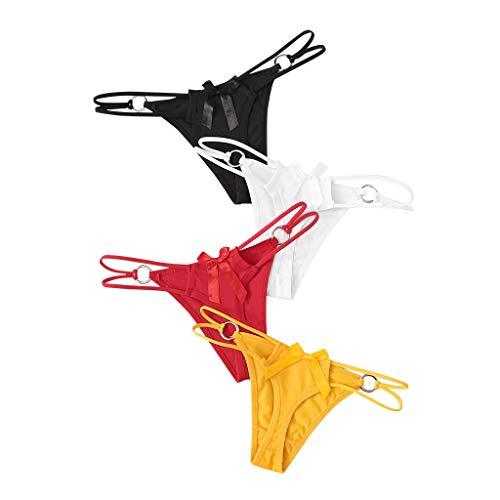 DNOQN 4PC Frauen Solide Aushöhlen Unterwäsche Höschen String Dessous Riemen